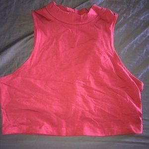 Red high neck crop top